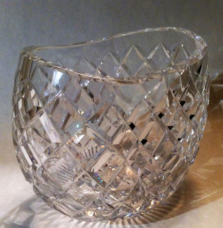 Comeragh Waterford Vase Crystal SIGNED Leaded glass Oval Diamond Cut Crystal #Waterford