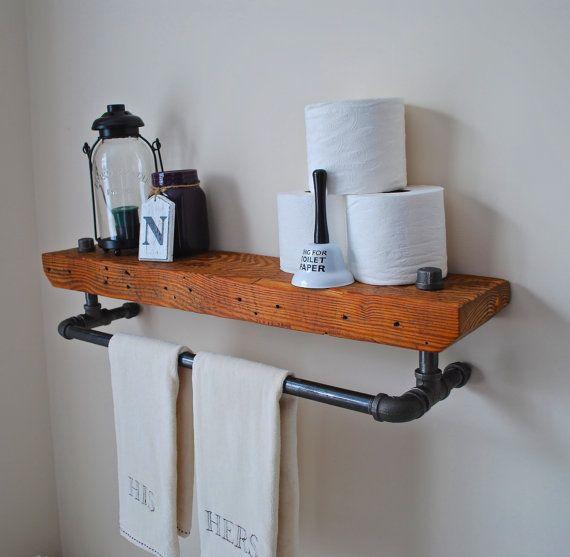 rough-sawn vintage pipe shelf