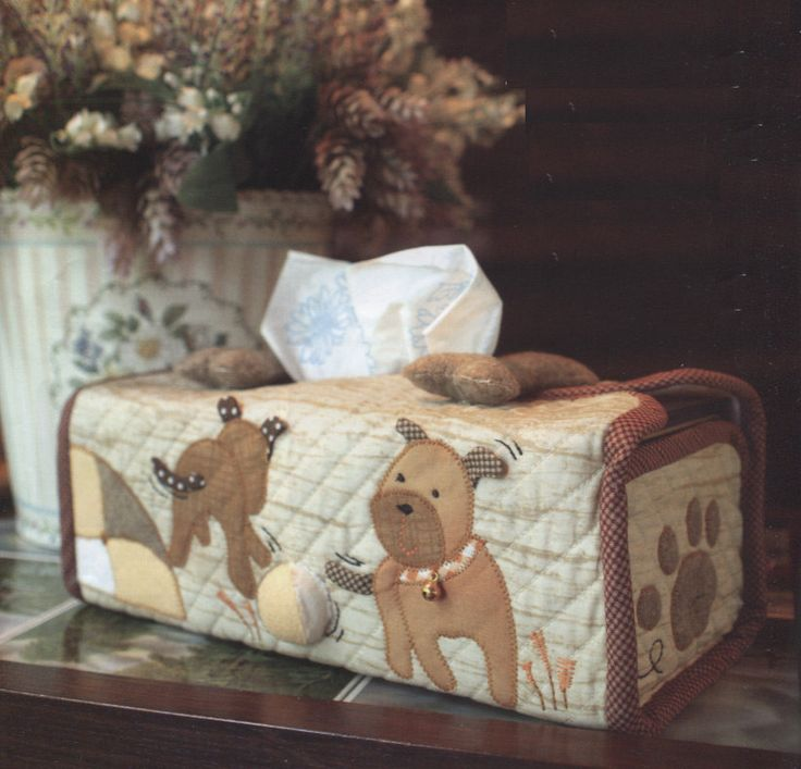 Dog puppy House home tissue box hand embroidery stitch sewing applique patchwork quilt PDF E Patterns. $5.00, via Etsy.
