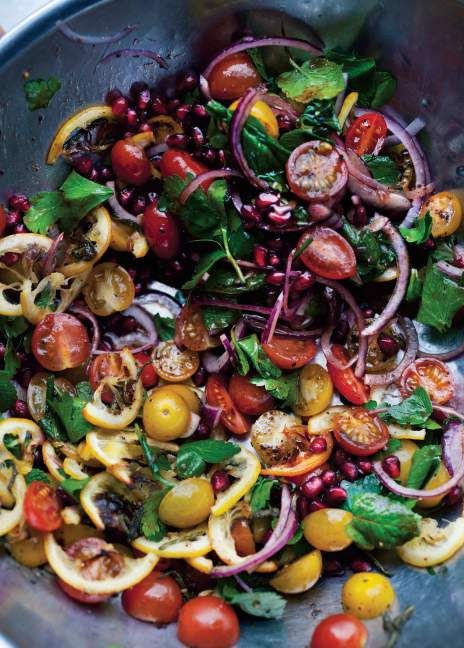 This Tomato and Roasted Lemon Salad from Ottolenghi's new book is the #salad of your dreams. #Ottolenghi #vegetables | Health.com