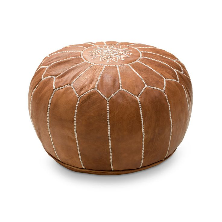 Fin och mysig sittpuff med vintagelook, handgjord och handsydd i Marocko. Äkta skinn, ett material som åldras vackert. Köp den med eller utan stoppning