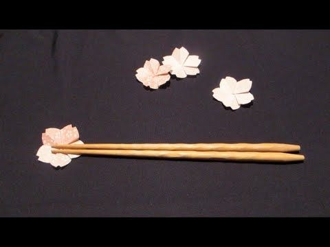 折り紙で作る箸置き~4月桜~[How to ORIGAMI]Cherry Blossoms **** ötszög szerkesztéssel! jó