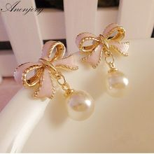 Anenjery High Quality Delicate Gold Color Pink Drops Of Oil Butterfly Bow Knot Pearl Stud Earrings For Women brincos E22 //FREE Shipping Worldwide //