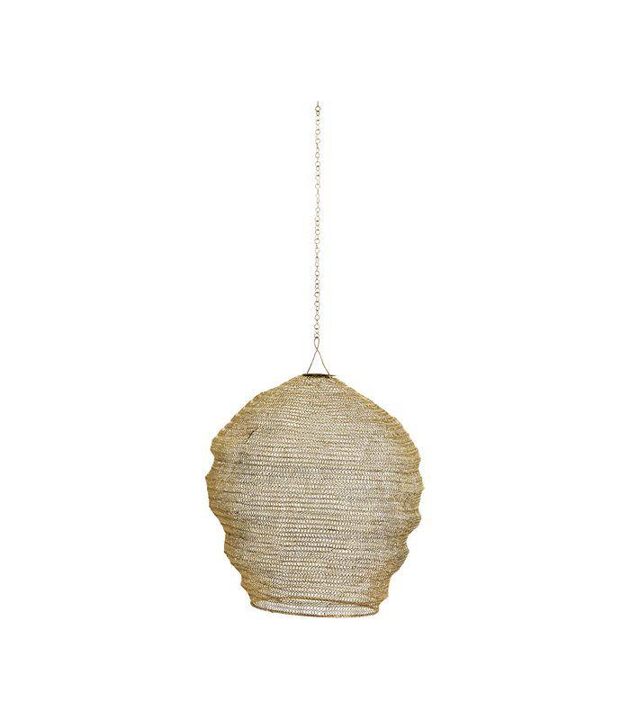 Lámpara de techo con pantalla de alambre dorado