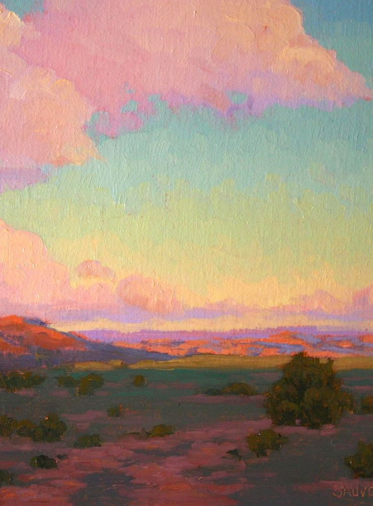 Juicy colored sky--New Mexico landscape original oil painting http://terrysauve.com/available-painting/
