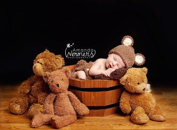 Newborn Teddy Bear Hat Tail Set