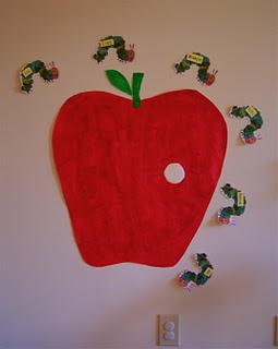 Pin the very hungry caterpillar on the apple! Love it