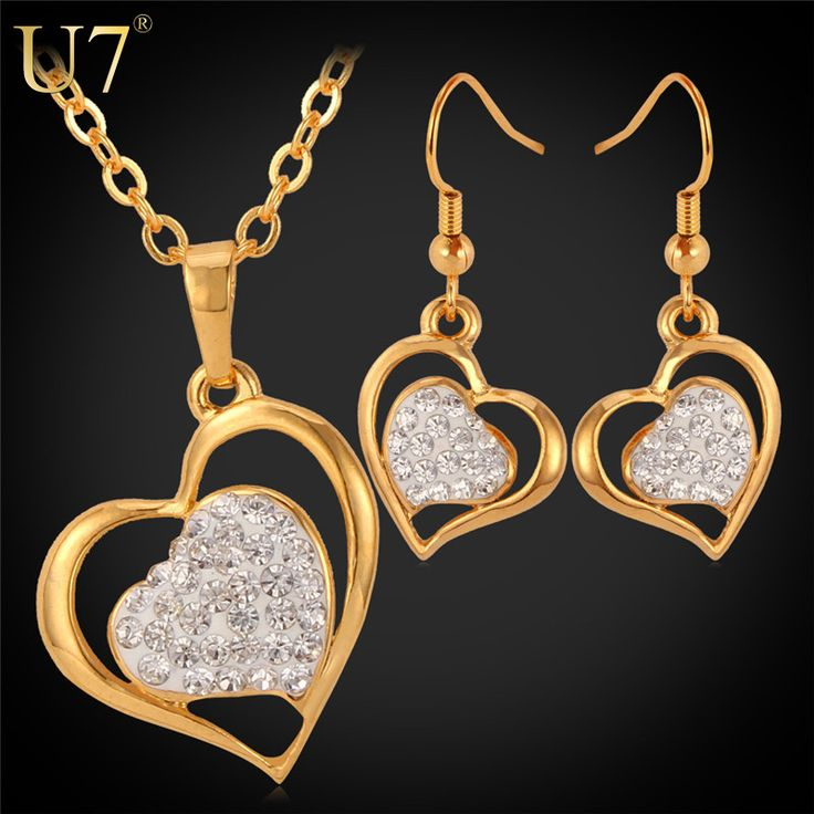 Heart In Heart Necklace Set 2015 New 18K Real Gold Plated Shine Full Crystal Rhinestone Necklace Earrings Jewelry Set Women S555 Dressional #dressional