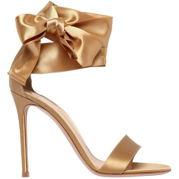 Gianvito Rossi Women 100mm Bow Ankle Strap Satin Sandals found on Polyvore featuring shoes, sandals, heels, gold, lace up high heel sandals, lace up sandals, ankle strap high heel sandals, wrap around sandals and leather sole shoes