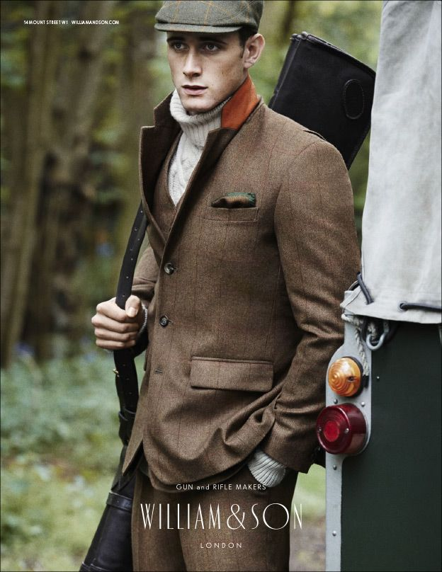 AW14 Men's Burntwood jacket and breeks with tweed cap and leather gun slip