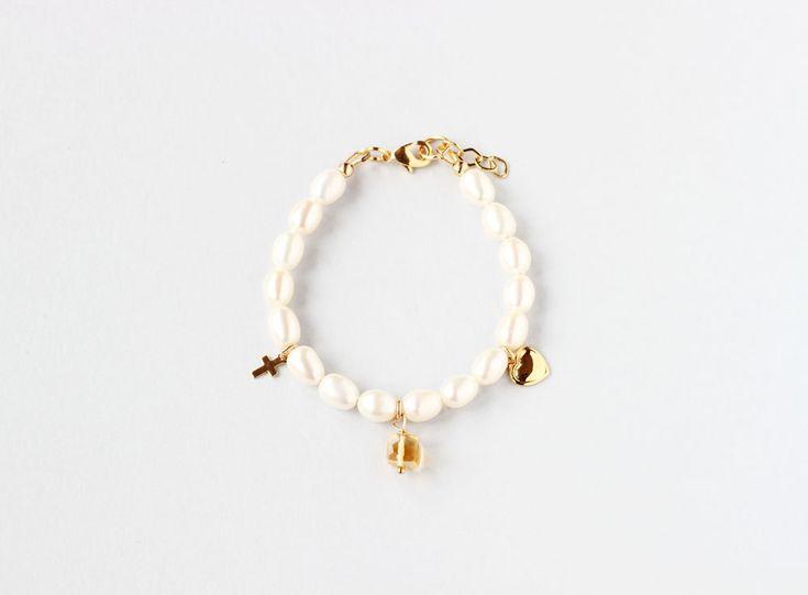 November Birthstone First Communion Bracelet, Girl Communion Jewelry, First Communion Keepsake, Birthstone Gift, Pearl Communion Bracelet by ILgemstones on Etsy