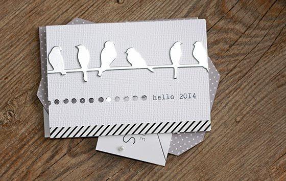 Carte de voeux oiseaux sur la branche de sandrine chez kesi art