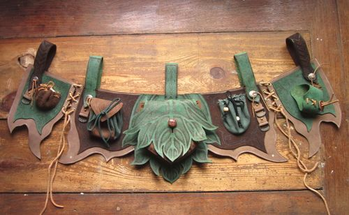 Fairy or woodland elf pockets      Finyas leathern apron LARP by ~RoastedMoth     (Source: mothmonarch)