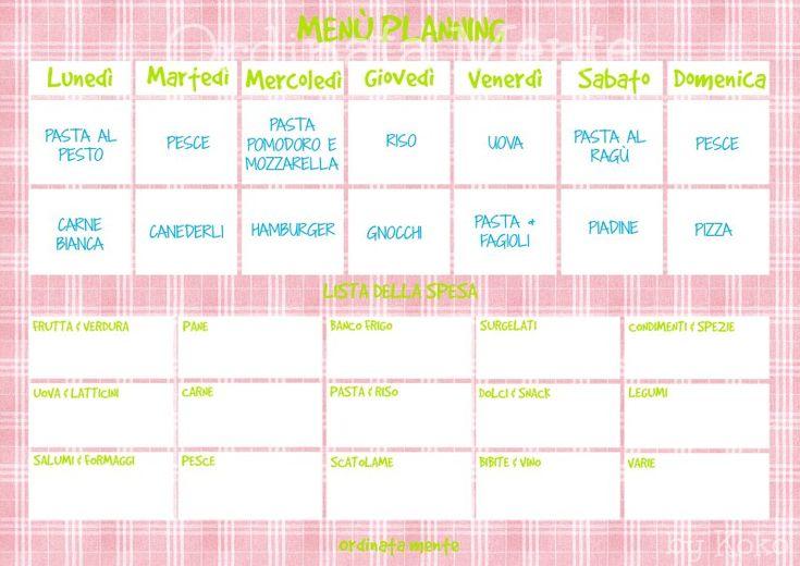 ORDINATA MENTE: Meal planning #3: la stesura del piano