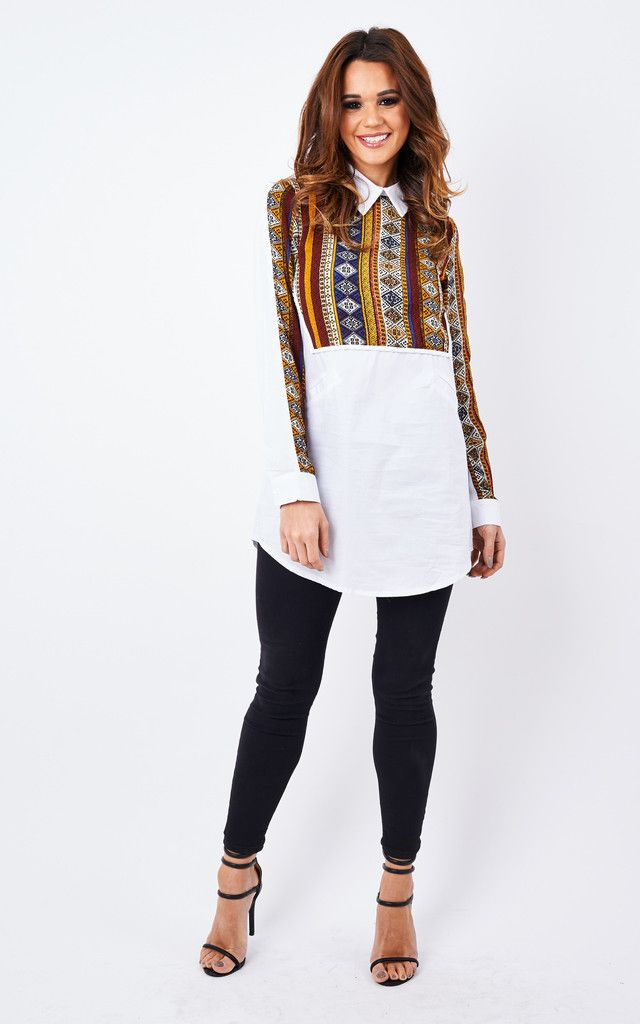This printed shirt dress is a perfect way to liven up your wardrobe this season. The Aztec design is simple yet effective and looks great over a pair of leggings and paired with black ankle boots.