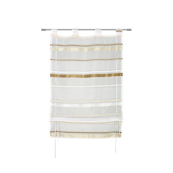 Dekoratives Bändchenrollo in Weiß und Braun - stilvoll und praktisch
