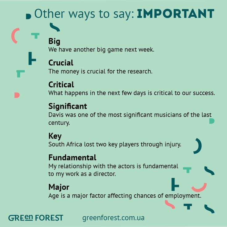 Synonyms to the word IMPORTANT. Other ways to say IMPORTANT. Синонимы к английскому слову IMPORTANT.
