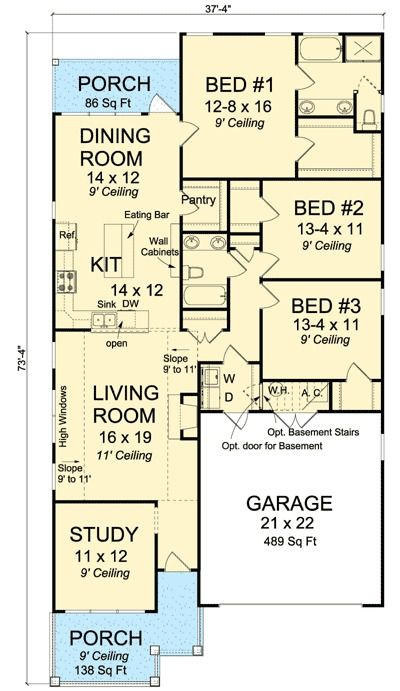 Plan 52212WM: Narrow Lot Home Plan with Study | Pantry