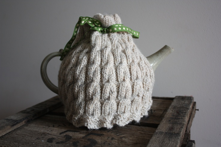 Knitted wool tea cosy  By Hill and Vale Designs