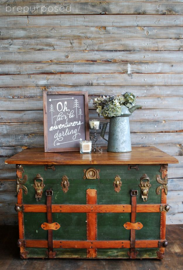 Antique Steamer Trunk Turned Coffee Table - brepurposed - this is one lovely piece! Check out the wood top idea... perfection!
