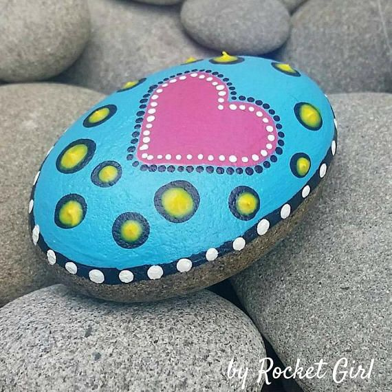 Heart Painted Stone Painted Rock Painted Dot Stone