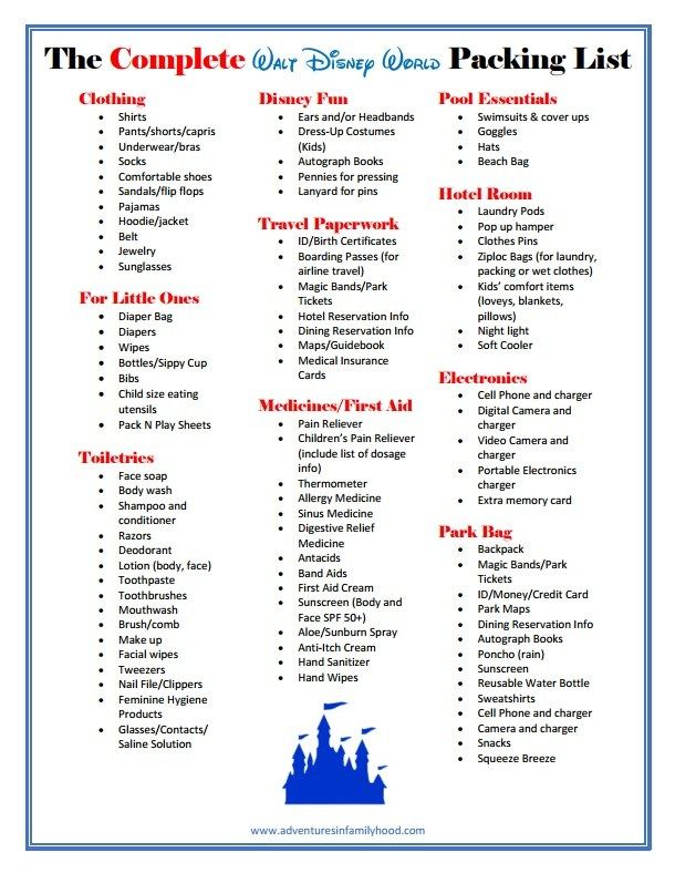 What Should You Pack For Your Walt Disney World Vacation Here S A List Tips