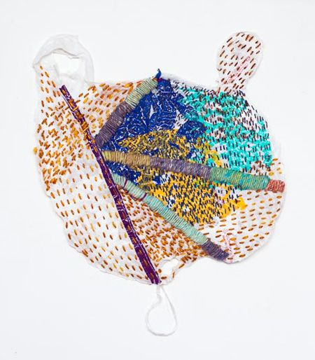 Josh Blackwell - Thinking about the idea of consumer responsibility led me to begin collecting plastic bags from kitchen cupboards and city streets. Plastic bags are the second most common form of litter in the world after cigarette butts. The bags attempt to redress their impoverished status with the addition of colorful embroidery in geometric patterns.