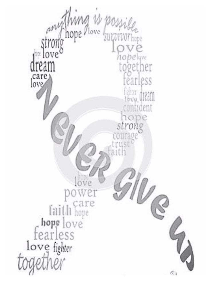 Never give up; grey ribbon, brain tumor awareness
