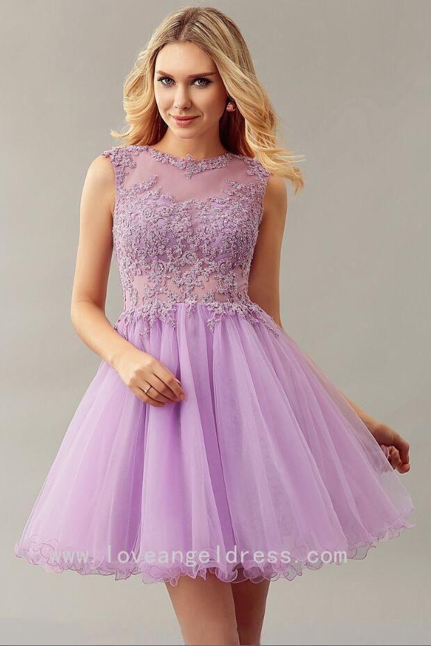 9d99ed33b Lilac Lace Bead Sleeveless Custom Homecoming Dress Short | Lilac ...