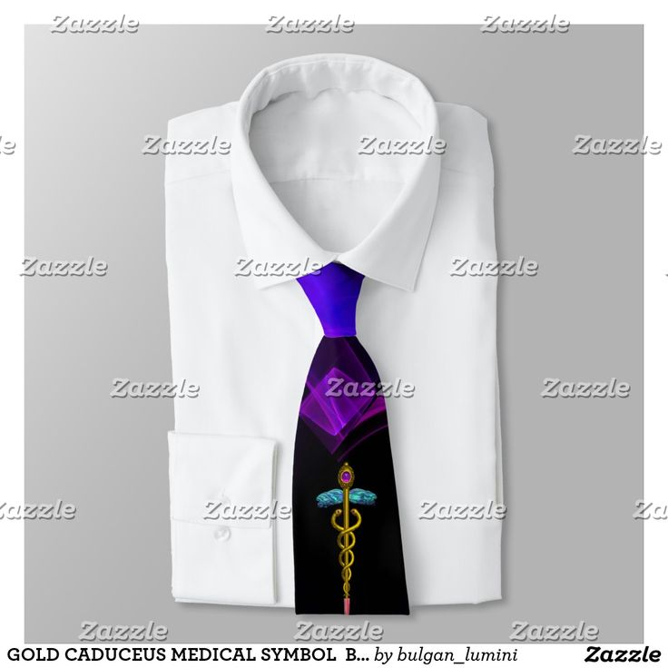 GOLD CADUCEUS MEDICAL SYMBOL  Black Purple Swirls Tie