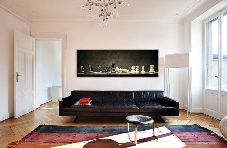 kanvas tablo dekorasyon fikirleri oturma odası salon satranç siyah beyaz oyun