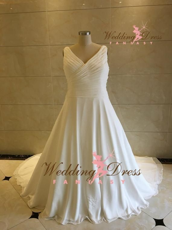 Plus Size Wedding Dress with Straps in Chiffon Very Flattering with Ruching Couture Bridal Gown by A