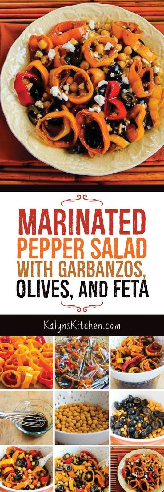 Marinated Pepper Salad with Garbanzos, Olives, and Feta is a delicious salad for any time of year! And this tasty salad with marinated mini-pepper slices is low-glycemic, gluten-free, meatless, and South Beach Diet friendly. [found on KalynsKitchen.com]