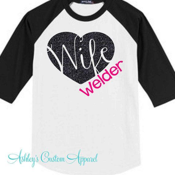 Welder's Wife - Baseball Tee - Oilfield Welder - Pipeline Welder - Welder Tshirt - Welding - Welders Girlfriend - I Love My Welder - Raglan by AshleysCustomApparel