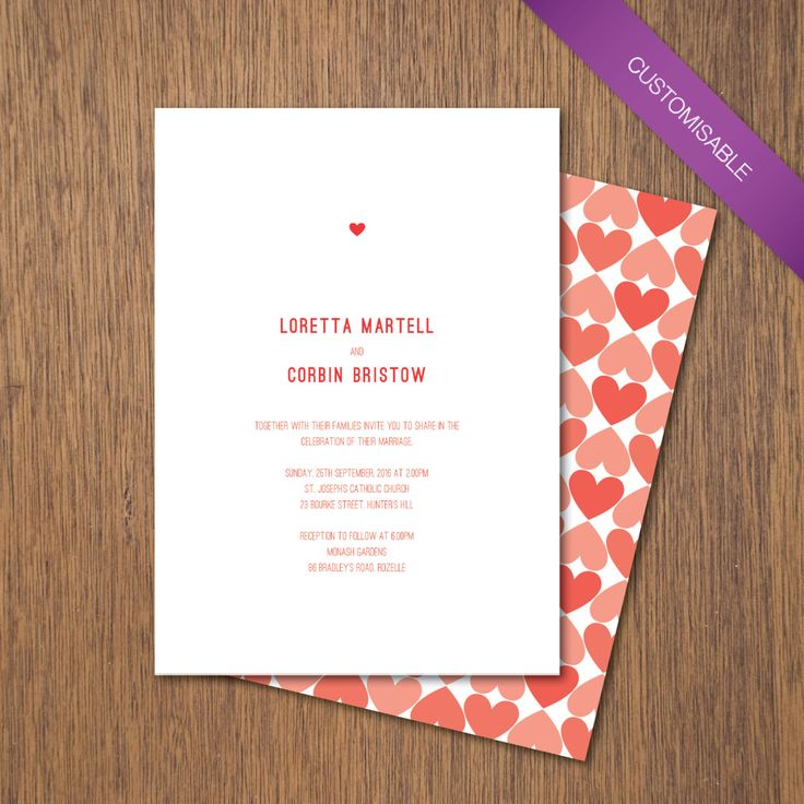 Simple Love - Invitation | DIY Printable by myPaperCraftsau on Etsy | See the complete set here - http://etsy.me/1c8IXWH