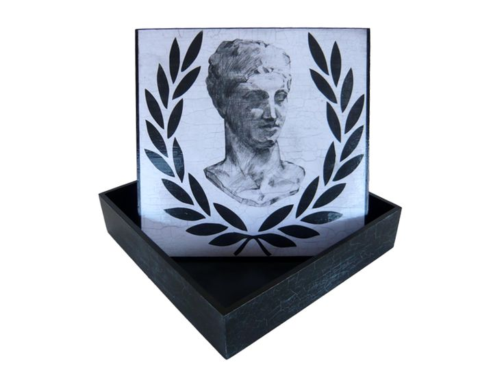 decoupage box 25x25x6 with the bust of Hermes of Praxiteles # by kvs artcreations........ #worldofcrafters. www.worldofcrafters.gr ..............The Bust is painted by,,,,,eva arvanitidou