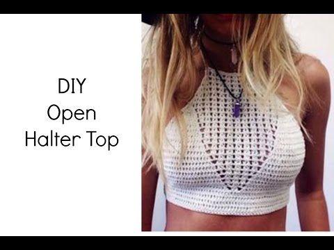 How to Crochet an Open Halter Top - YouTube