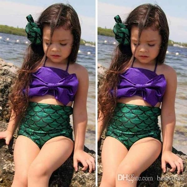 2016 Summer Pretty Baby Bowtie Kids Girls Mermaid Bikini Suit High Quality Swimmable Mermaid Swimsuit Swimwear Bow Outfits Set D Cup Swimwear Swimwear From Best Toys, $6.99  Dhgate.Com