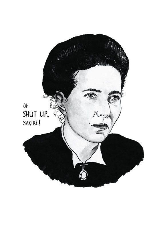 Simone de Beauvoir Literary Poster Print Great Writer Feminist Icon via Etsy