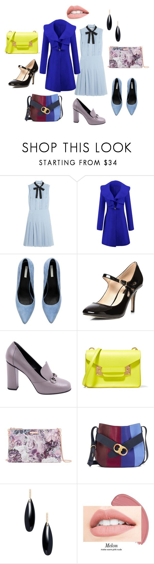 """Синее пальто"" by evavendoc on Polyvore featuring мода, Gucci, WithChic, Dorothy Perkins, Sophie Hulme, Ted Baker, Tory Burch и Janis Savitt"