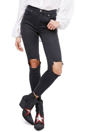 Free shipping and returns on Free People High Rise Busted Knee Skinny Jeans (Carbon) at Nordstrom.com. Ripped knees put a rough-and-tumble slant on otherwise polished skinny jeans cut with a high waist. #fashion #womensfashion #Womensclothing #style #shopstyle
