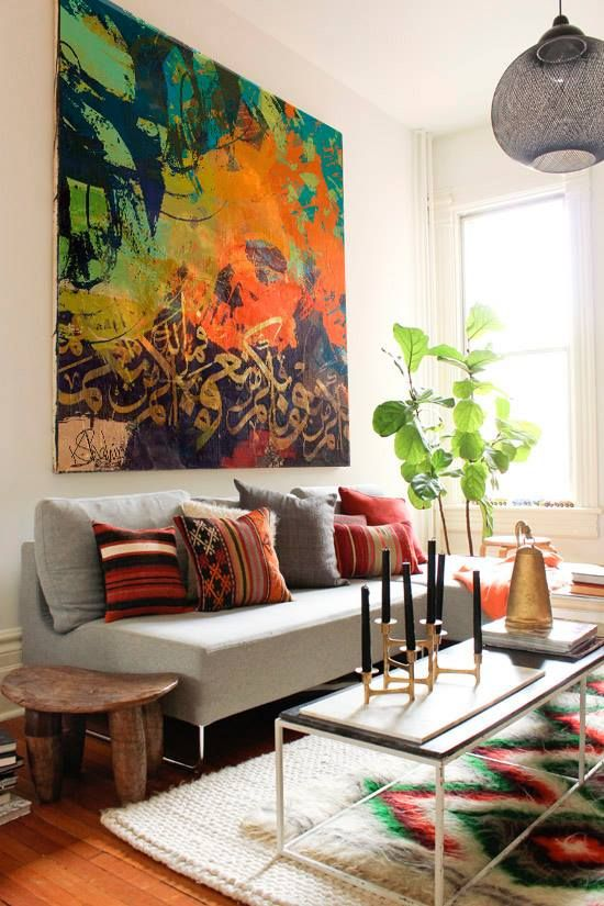 Large Wall Paintings For Living Room Part - 15: Interior Home Design Ideas Image 19 Gorgeous Living Room Design Ideas In  Eclectic Style Layered Rugs, Textured Pillows, And Big Art.