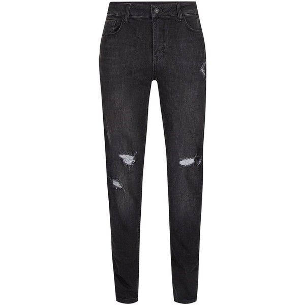 TOPMAN Antioch Black Ripped Stretch Skinny Jeans ($62) ❤ liked on Polyvore featuring men's fashion, men's clothing, men's jeans, black, mens super skinny jeans, mens torn jeans, mens stretch jeans, mens super skinny stretch jeans and mens skinny jeans