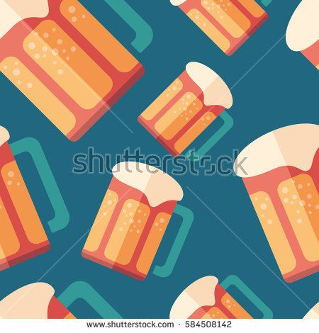 Beer flat icon seamless pattern. #foodpatterns #vectorpattern #patterndesign #seamlesspattern