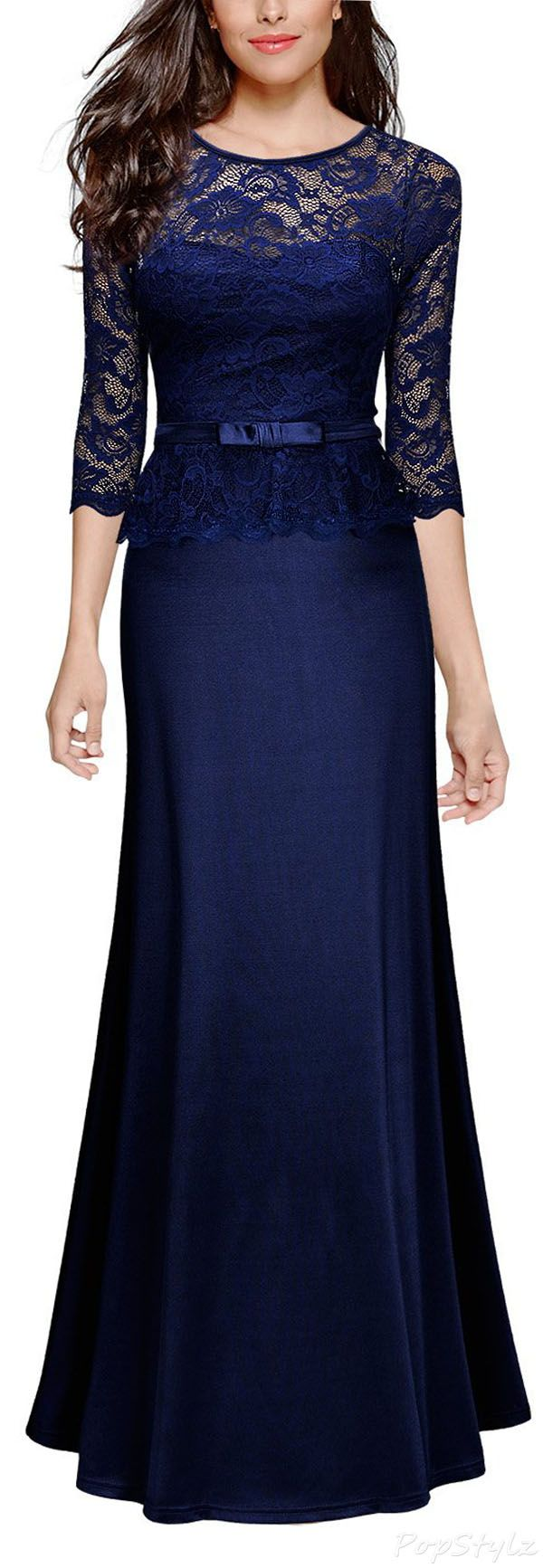 Vintage Floral Lace Peplum Dress