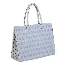 Cat Cotton Canvas tote Bag polka dot blue