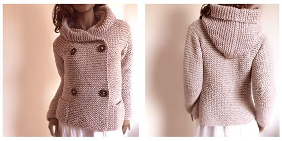 Hooded Women's Jacket Sweater Knit Hoodie Jacket Double