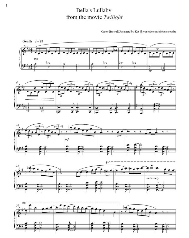 Bella Lullaby Edward Carter Burwell Piano Sheet Music Page 1