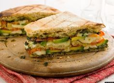 """Triple-Decker Tomato and Avocado Panini with Mozzarella and Pesto"" -- Looks and sounds AMAZING! must try"