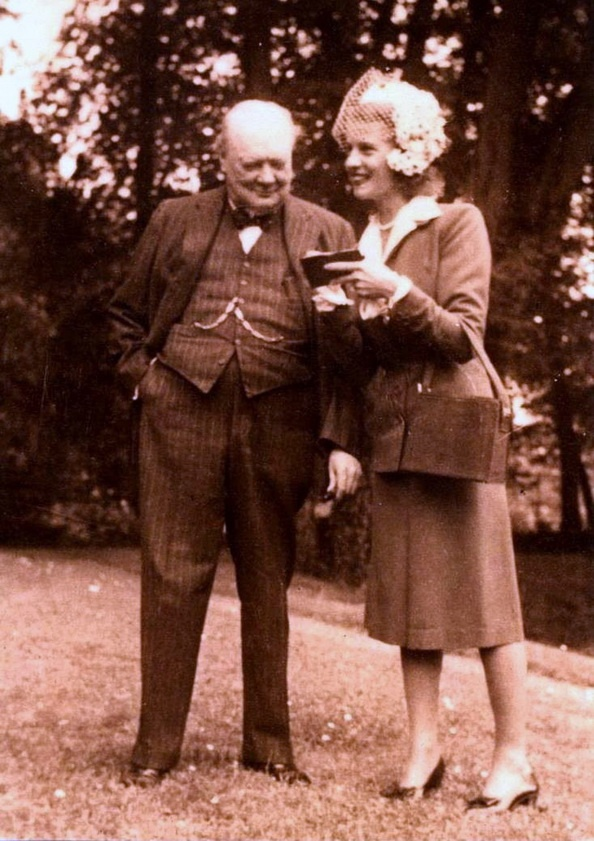 Winston Churchill with Odette Pol-Roger. More at http://www.telegraph.co.uk/news/obituaries/1379766/Odette-Pol-Roger.html